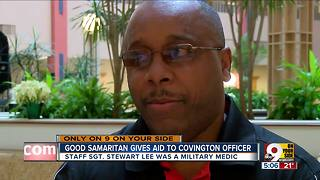 Good Samaritan gives aid to officer - Video