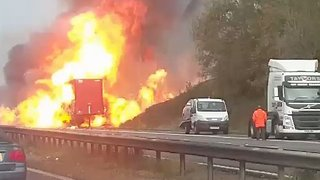 'Firework' Sounds Heard as Lorry Engulfed in Flames on Motorway - Video
