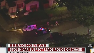 Stolen car suspect leads police on chase - Video