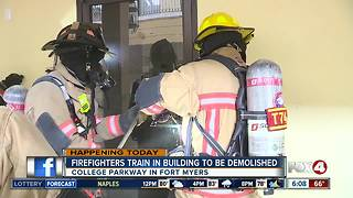 Firefighters training in building set for demolition - 6am live report - Video