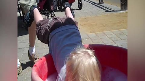 Tot Boy Falls Into A Washbowl While Washing Hands