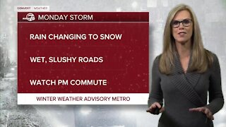 Sunday night forecast: Snow for Monday