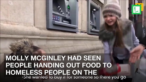 Age 9 Girl Has Message to All after Using Birthday Money to Feed Homeless on Streets