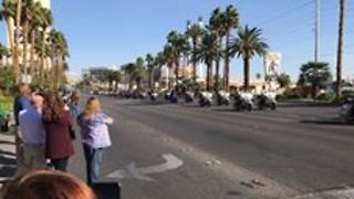 Las Vegas Police Officer's Funeral Procession Passes Mandalay Bay Resort - Video
