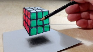 How to Draw Levitating 3D Rubik's Cube, Original Video by Vamos