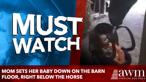 Mom sets her baby down on the barn floor, right below the horse. Horse knows just what to do