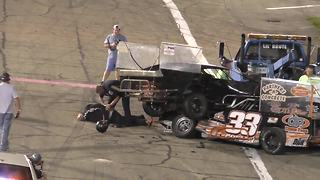 Drivers fight after crash at Anderson, Indiana race - Video