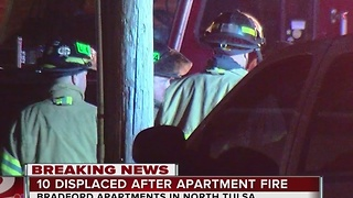 10 displaced after north Tulsa apartment fire - Video