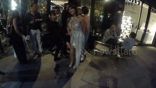 Lizzie Cundy celebrates 48th birthday in Central London - Video