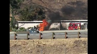 Vintage Plane Burst Into Flames After Crashing on California Freeway