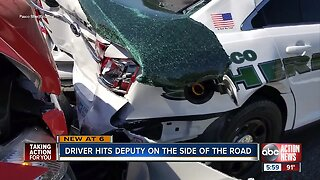 Pasco County deputy knocked out after van rear ends his patrol car