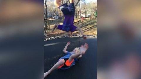 Trampoline Fail: A Boy Lands On A Girl After His Back Flip