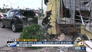 Driver hits 3 cars, crashes into building - Video