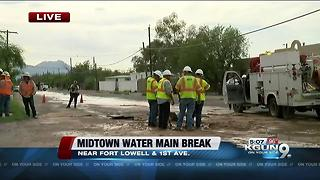 Crews on scene of water main break in midtown - Video