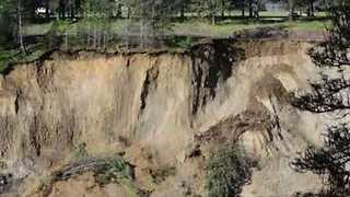 Cliff Collapses on Flooded Kettle River in Ferry County, Washington - Video