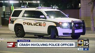 Glendale police cruiser involved in collision - Video
