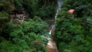 Amazing waterfall video captured with a drone