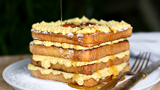 French Toast Stack With Pumpkin Cheesecake Filling