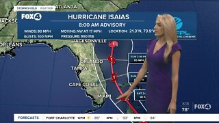 Hurricane Isaias forecasted to become a Category 2 hurricane