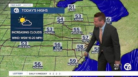 Metro Detroit Forecast: Coldest day in nearly 2 weeks for metro Detroit