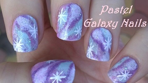 Pastel galaxy nail art design
