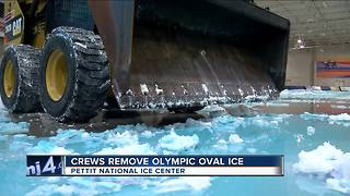 Crews remove Olympic oval ice at Pettit Center - Video