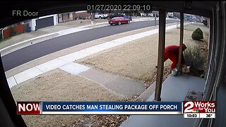 Video catches man stealing package off couple's porch