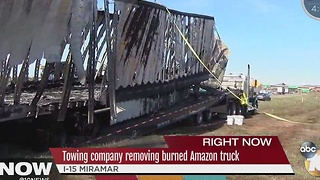 Burned Amazon Truck Can't Be Removed Wednesday - Video