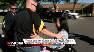 Veteran with spinal injury receives donated car from family of double Purple Heart recipient - Video