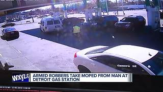 Police looking for men who stole moped from gas station in Detroit - Video
