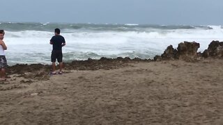 Waves rolling in on Hutchinson Island as Tropical Storm Isaias moves past South Florida
