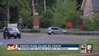 Pedestrian killed in crash overnight in Towson - Video