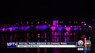 Royal Park Bridge glowing pink - Video