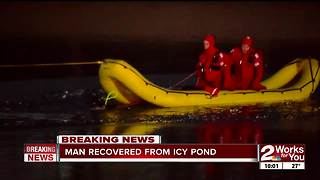 Body recovered from icy Catoosa pond - Video