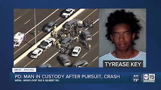 Homicide suspect leads police, DPS on pursuit before crash in Mesa