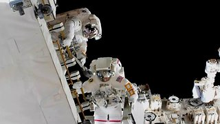 ISS Astronauts Replace Station Batteries in Spacewalk