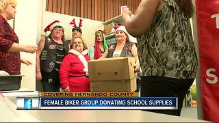 Female motorcycle group gives school supplies to Hernando County teachers and students - Video