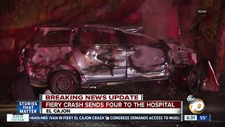 4 sent to hospital after fiery crash in El Cajon