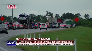 Semi fire causes delays on I-95 southbound in Martin Co.