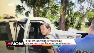 Vacationer spots something suspicious, helps police catch burglar before getting away - Video