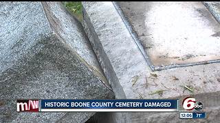 Historic Boone County, Indiana cemetery damaged in crash - Video