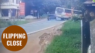 Passengers have a lucky escape after bus flipped over