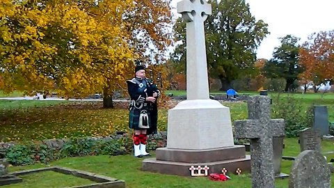 Lone Piper Marks Armistice Day at Northamptonshire Church