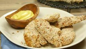 Baked Oat-Crusted Chicken Fingers with Sweet Mustard Sauce - Video