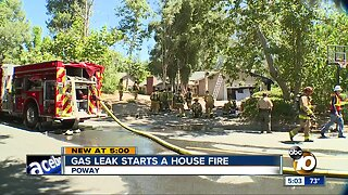 Gas leak starts a house fire in Poway