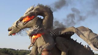 Game of Thrones-style dragon statue in Russia breathes fire - Video