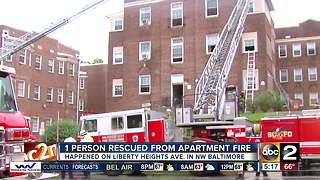 One person rescued from apartment fire in Liberty Heights - Video