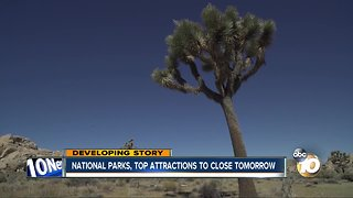 National parks, top attractions to close tomorrow