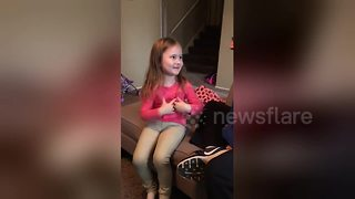 Little girl reacts to finding out she is going to be a big sister