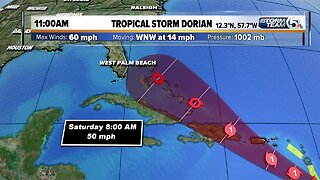 11 a.m. Monday tropical update: Dorian's winds remain at 60 mph